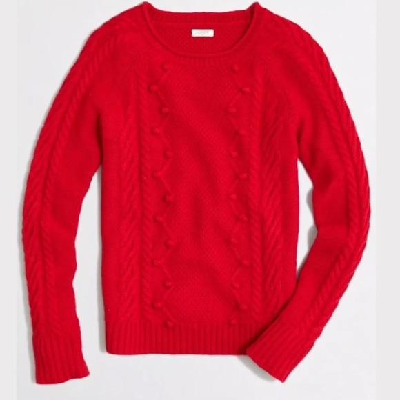 J. CREW Pom Pom Cable Knit Sweater Merino Wool